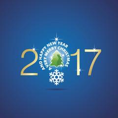 New Year 2017 Christmas idea bulb ball tree blue vector