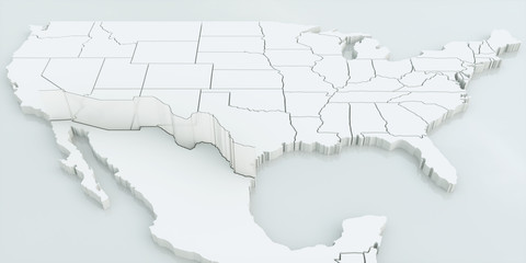 Wall between USA and Mexico. Highly detailed 3D rendering