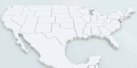 Map of USA and Mexico. Highly detailed 3D rendering