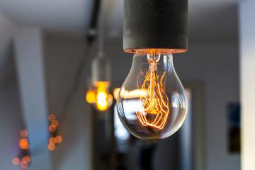 Detailaufnahme vintage Glühlampe