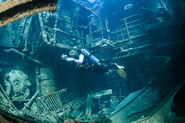 Dramatically Lightened Shipwreck called Chrisoula K and Diver