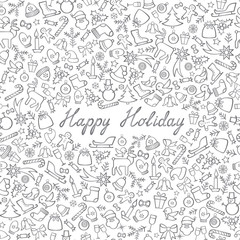 Christmas Icons Seamless Pattern. Happy Winter Holiday Wallpaper