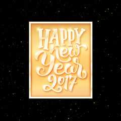 Happy New Year 2017 typographic text in golden frame on black background. Vector greeting card template with season greetings