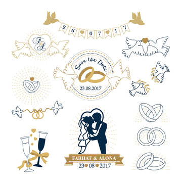 Set of wedding vintage  invitation template. Design elements for wedding cards. Wedding set: dress, couple, rings, invitation, bride and groom, doves, ribbon. Typographic stamps.