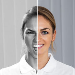 Two Side Face Of Woman