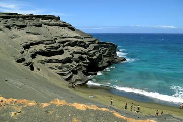 the cinder cone of the Papakolea green sand beach, Big Island, Hawaii
