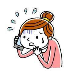 電話:女性、恐がる、あわてる、不安