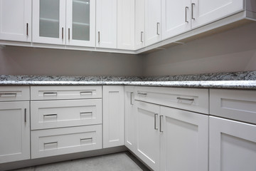 close up on white cabinet in modern kitchen