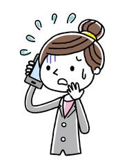 電話:ビジネス、女性、不安、恐がる