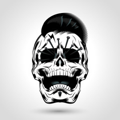 punk skull with nails