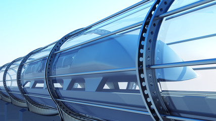 monorail futuristic train in tunnel. 3d rendering