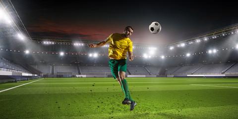 Soccer palyer kick ball . Mixed media