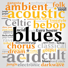 Blues. Word cloud, square, gradient grey background. Music concept.