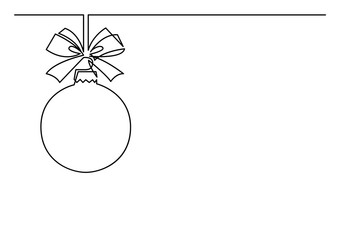 continuous line drawing of Christmas tree decoration