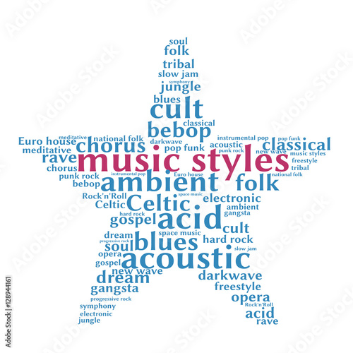 Music styles  Word cloud, five-pointed star, white background  Music