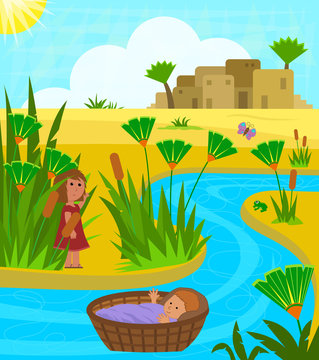 Baby Moses In Basket - Cute illustration of baby Moses on the Nile river with his sister watching over him from a distance. Eps10