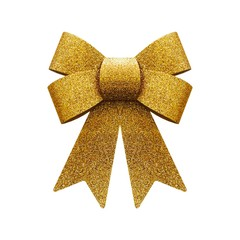 Glitter golden bow isolated on white background