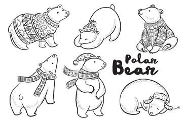 Vector outline set with polar bears