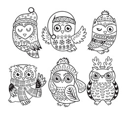 Vector outline set with Christmas owls