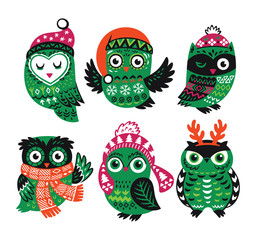 Set of funny owls for winter design.