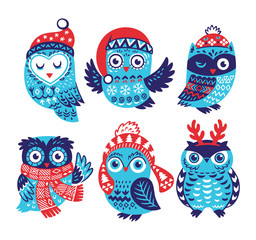 Christmas collection with cute little owls in knitted hats