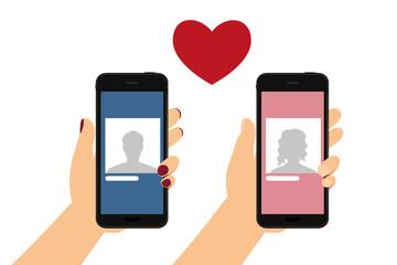 Frau und Mann mit Smartphone - Online Dating