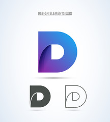 Vector abstract letter D logo design concept. Origami paper icon set