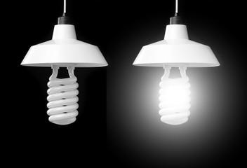 hanging lamp, isolated on black background.