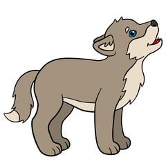 Cartoon animals. Little cute baby wolf howls.