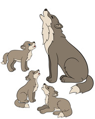 Cartoon animals. Father wolf howls with his little babies.