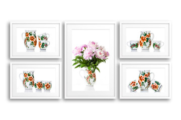 Frames collage with ornamental dishes posters, interior decor mock up