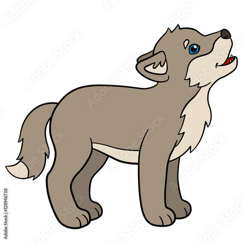 "cartoon animals. little cute baby wolf howls."" stock image and"