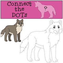 Educational game: Connect the dots. Cute beautiful wolf smiles.