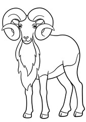 Coloring pages. Cute beautiful urial with huge horns.