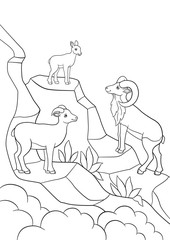 Coloring pages. Mother, father and baby urial smile.