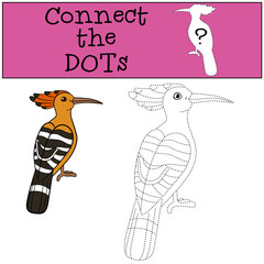 Educational game: Connect the dots. Cute beautiful hoopoe smiles