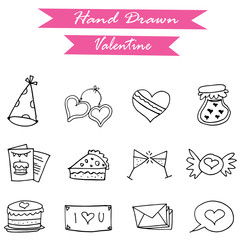 Icon of valentine day hand draw