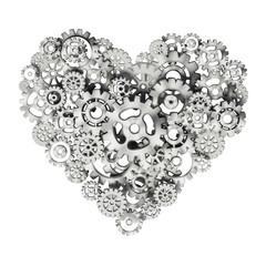 Metal gears forming heart shape. 3D illustration