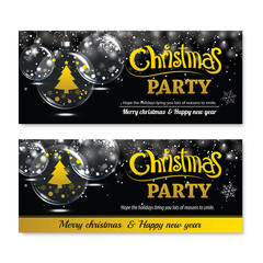 Invitation merry christmas greeting banner and card design