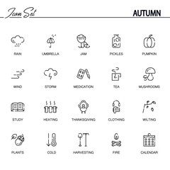 Autumn flat icon set.