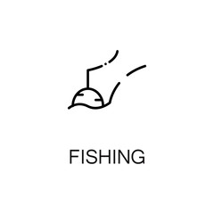 Fishing flat icon or logo for web design.