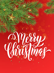 Merry Christmas greeting card decoration ornament red background