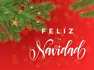 Spanish Merry Christmas Feliz Navidad greeting card decoration red background
