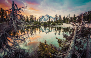 mt. Shuksan with reflection on picture lake,Washington,usa.