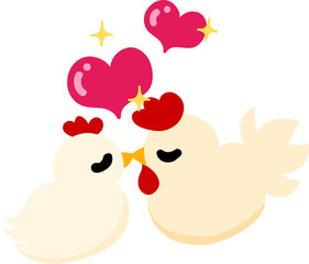 My original illustration of cute domestic fowls