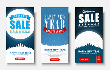 web set of vertical banners for Christmas sales.
