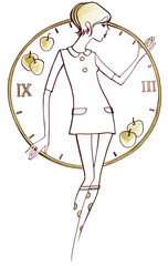 1960s, Young girl in fashion dress 1960  against the background of the dial with apples,  on a white background