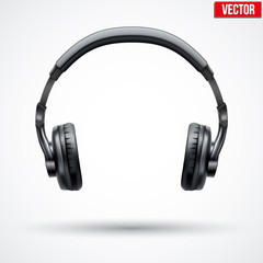 Realistic black Headphones. Vector Illustration Isolated on White Background