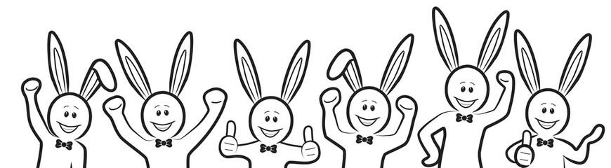 Gruppe aus sechs schwarz-weißen Strichmännchen-Osterhasen / gezeichnet, handgezeichnet, Zeichnung, Kontur, Design, Vektor