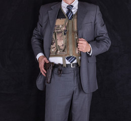 CIA agent, a studio portrait of a security guard, bodyguard, detective, mafia